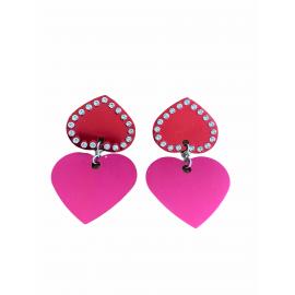 Pendiente corazón doble rojo/fucsia